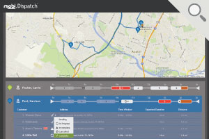 Dispatch Software Screenshot: Job status and map