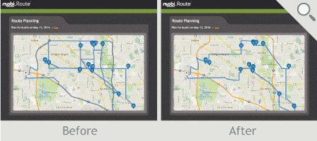 Route comparison before and after mobi